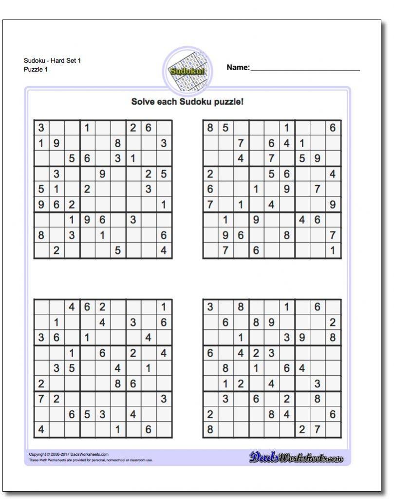 Printable Sudoku Puzzles | Math Worksheets | Sudoku Puzzles, Math | Printable Sudoku Puzzles Hard