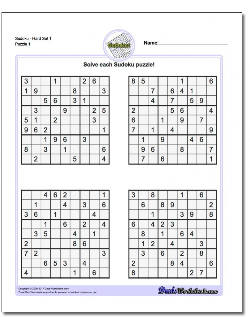 Printable Sudoku Puzzles   Math Worksheets   Sudoku Puzzles, Math   Printable Sudoku Worksheets