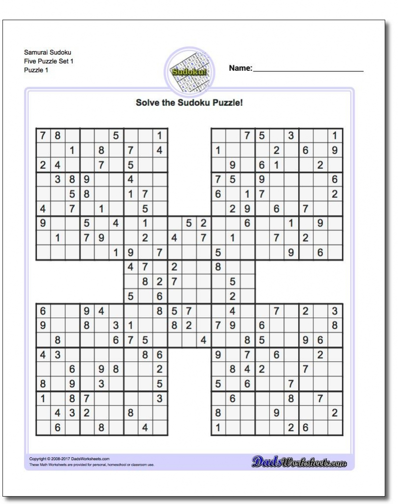 Printable Sudoku Samurai! Give These Puzzles A Try, And You'll Be   5 Sudoku Printable