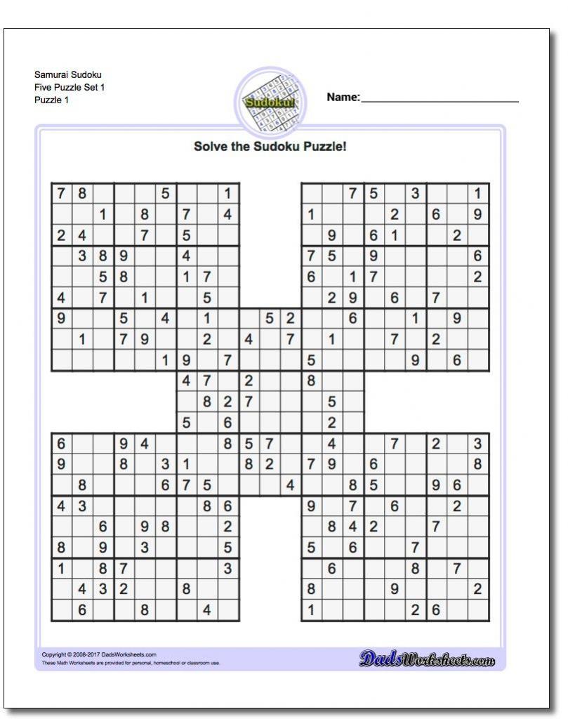 Printable Sudoku Samurai! Give These Puzzles A Try, And You'll Be | Printable Sudoku 5 Puzzles