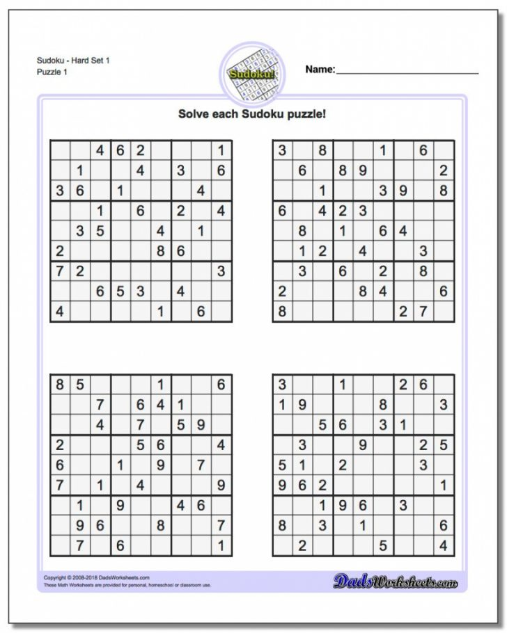 Printable Cube Sudoku Puzzles