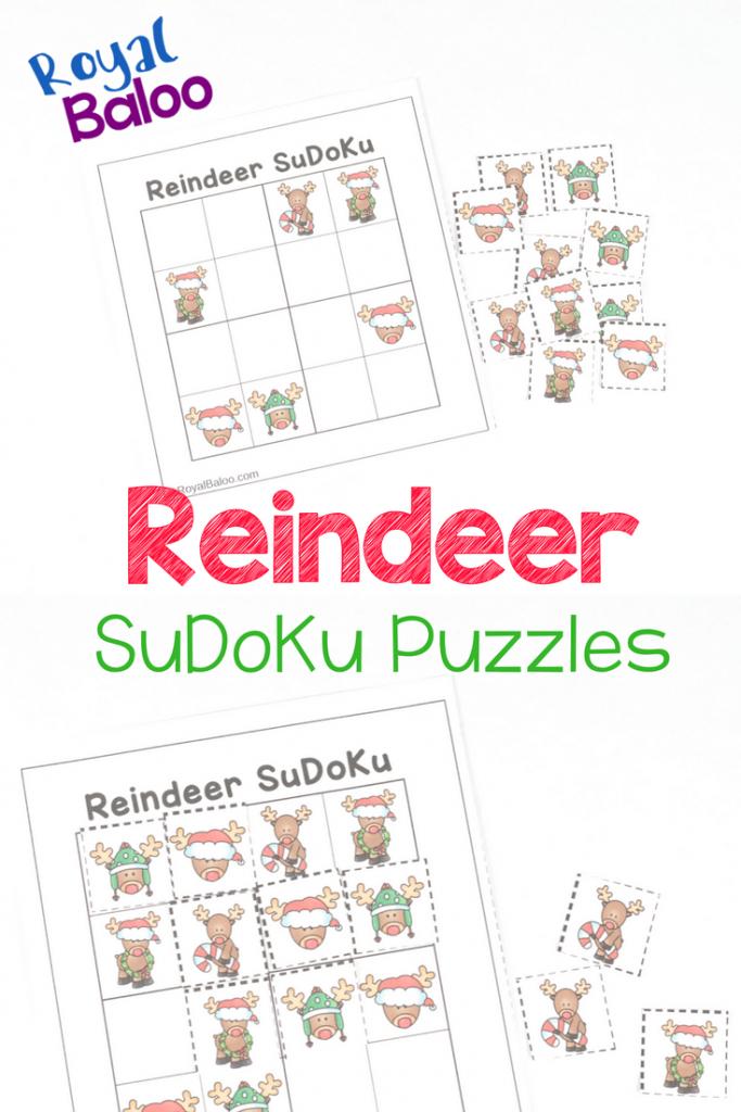 Reindeer Sudoku Puzzles - Christmas Logic Fun - Royal Baloo | Printable Christmas Sudoku Puzzles