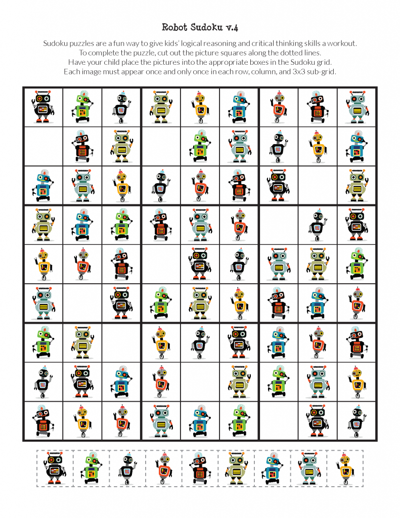 Robot Sudoku Puzzles {Free Printables} - Gift Of Curiosity | Printable Sudoku Puzzles 3X3