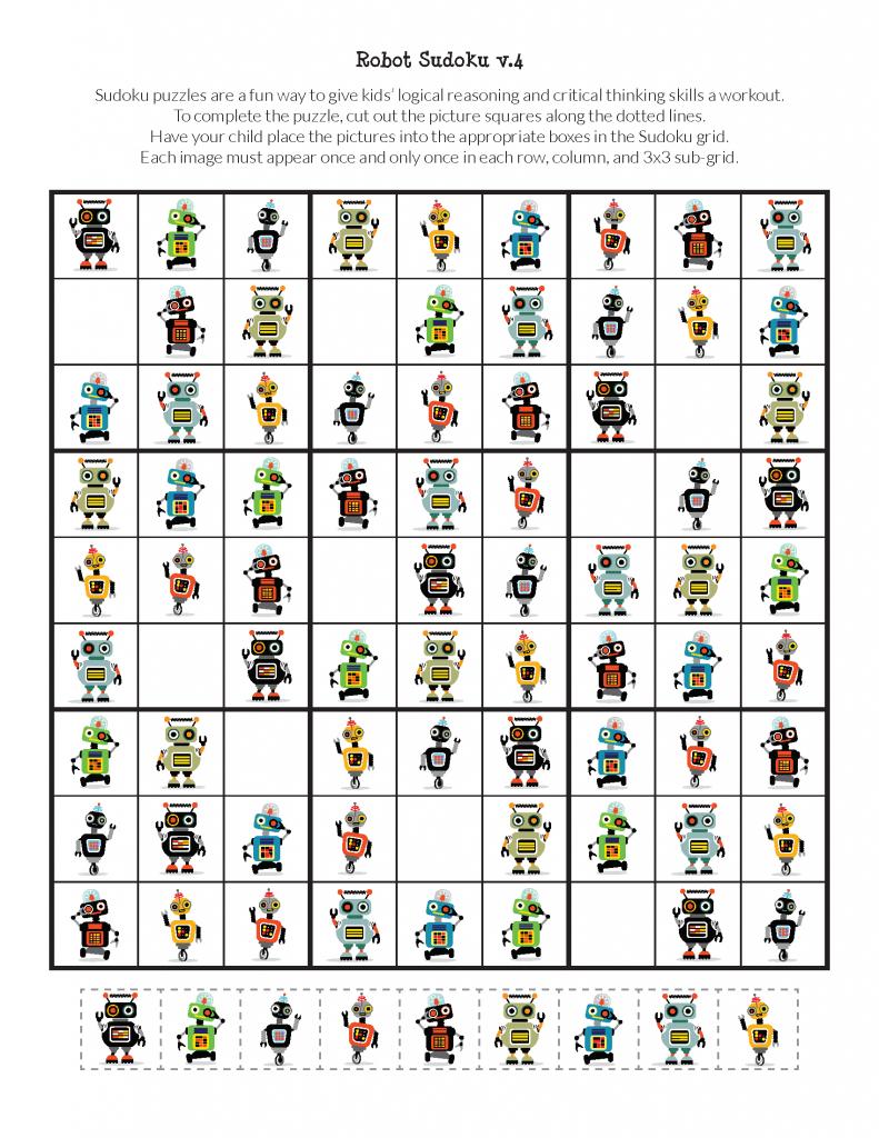Robot Sudoku Puzzles {Free Printables} - Gift Of Curiosity | Sudoku Printable 3X3