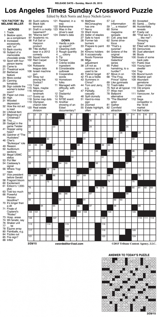 Sample Of Los Angeles Times Sunday Crossword Puzzle | Tribune | Printable La Times Sudoku