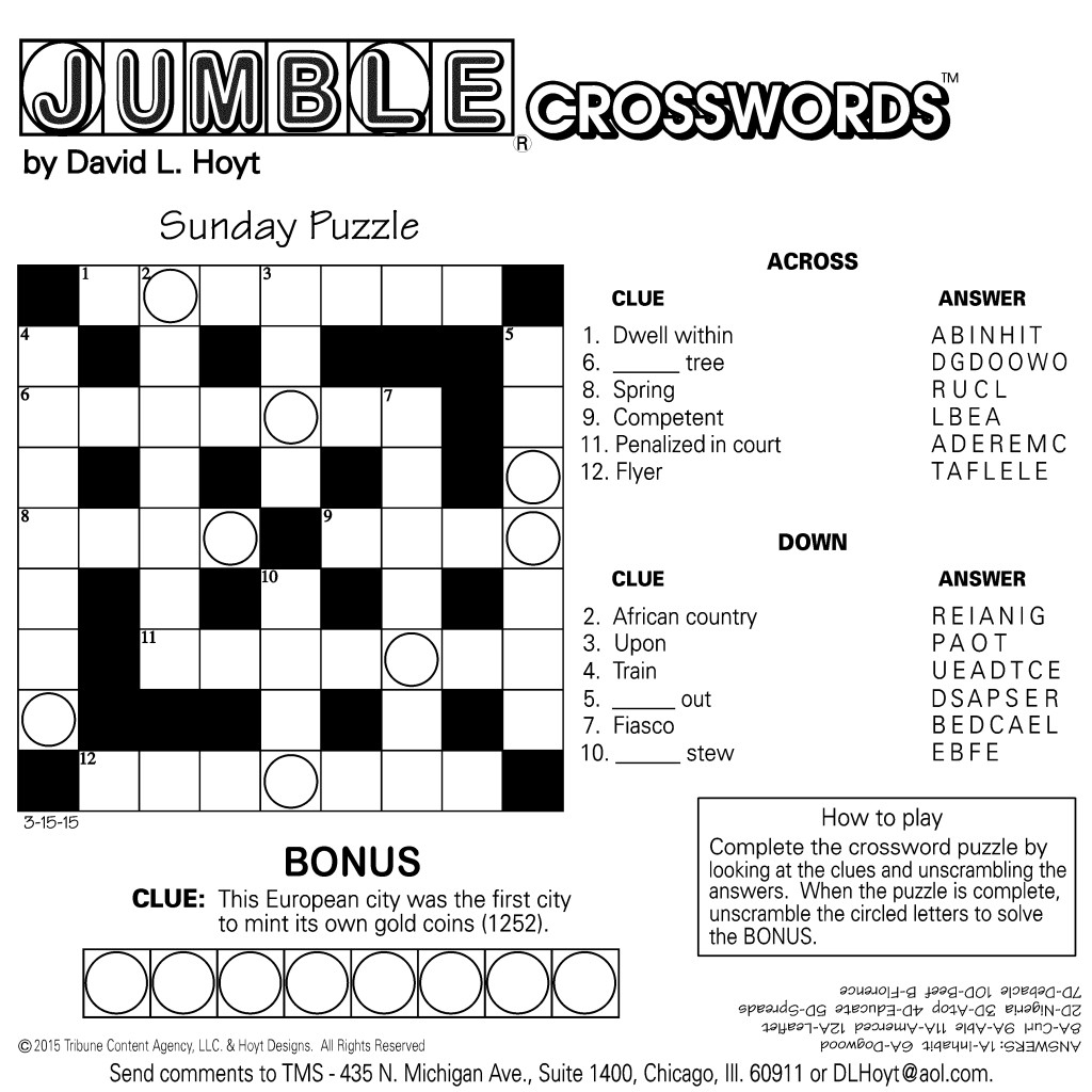 Sample Of Square Sunday Jumble Crosswords | Tribune Content Agency | Printable Sudoku Chicago Tribune