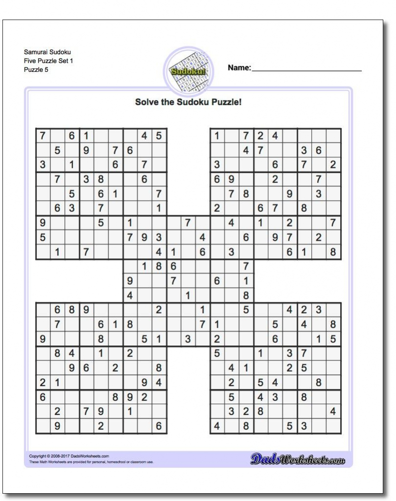 Samurai Sudoku Five Puzzle Set 1 #sudoku #worksheet | High Five | Printable Sudoku 1Sudoku