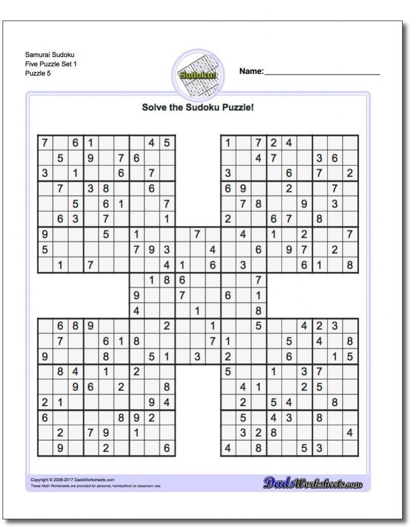 Samurai Sudoku Five Puzzle Set 1 #sudoku #worksheet | High Five | Sudoku Printables 1-4