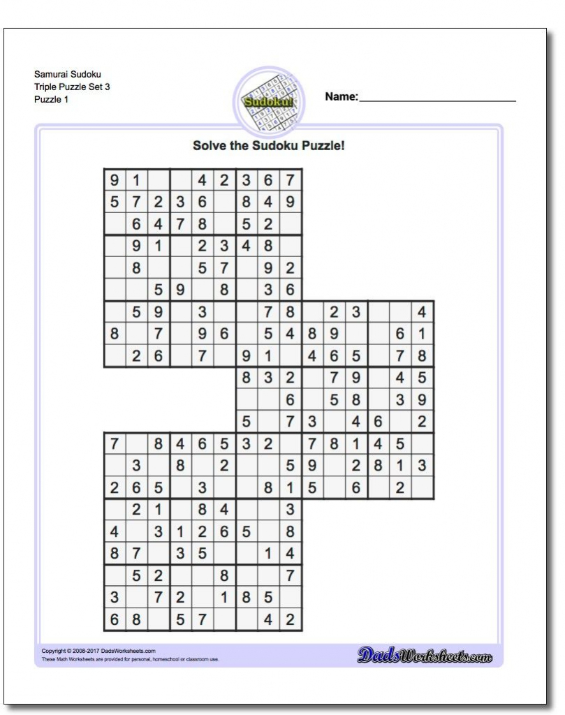 Samurai Sudoku Triples | Math Worksheets | Sudoku Puzzles, Math | Printable Sudoku Triples