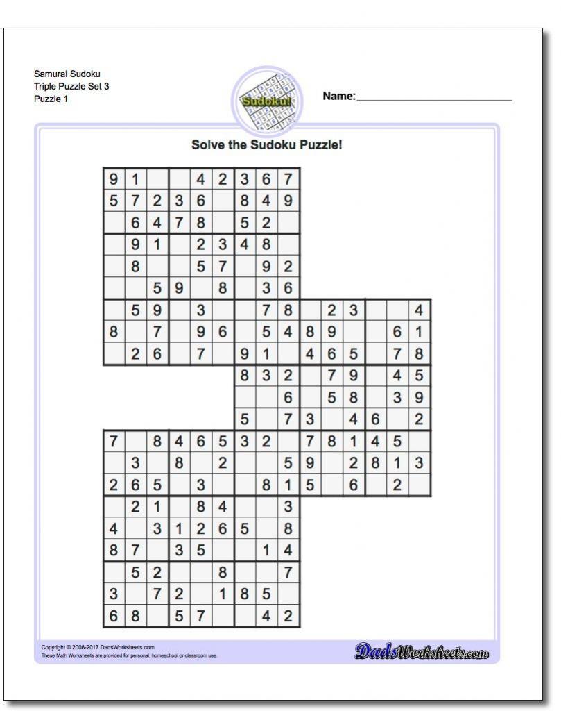 Samurai Sudoku Triples | Math Worksheets | Sudoku Puzzles, Math | Printable Sudoku Triples