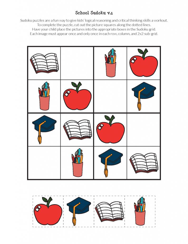 School Sudoku Puzzles {Free Printables} - Gift Of Curiosity   Printable Children's Sudoku Free