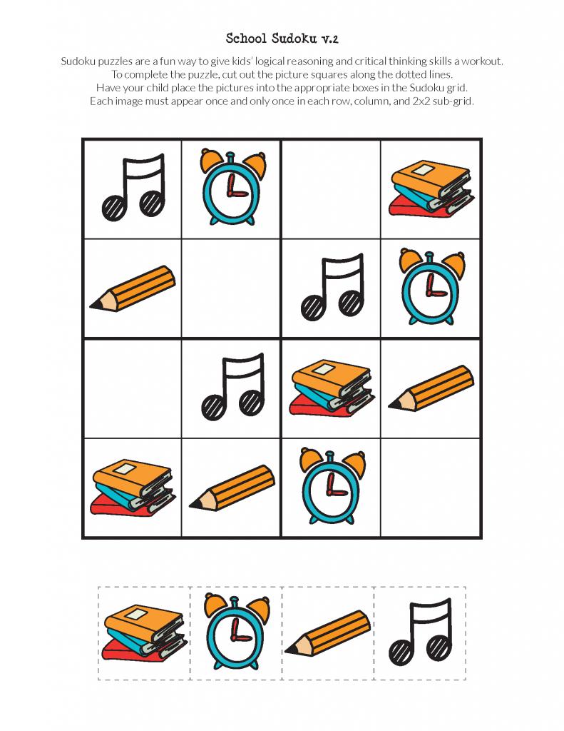 School Sudoku Puzzles {Free Printables} - Gift Of Curiosity | Printable Sudoku For Kindergarten