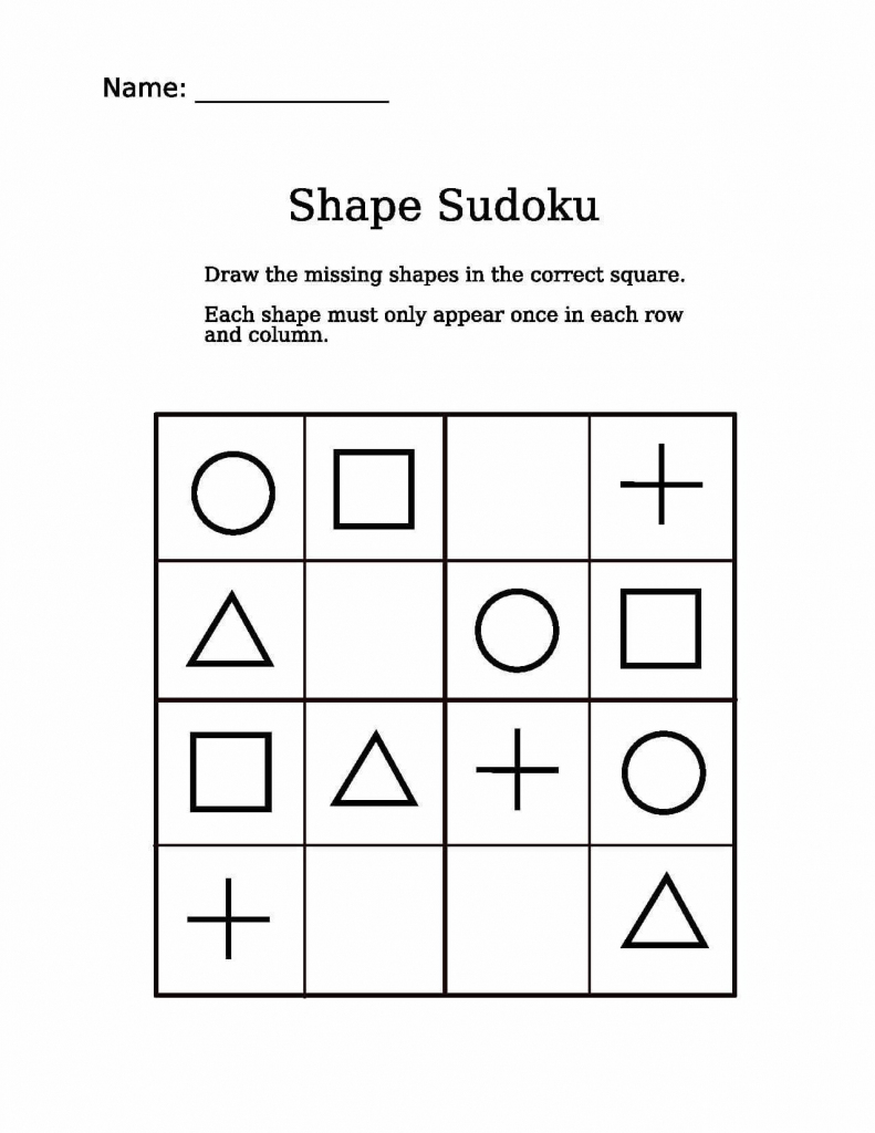 Shapes Picture Sudoku Puzzle | Free Printable Puzzle Games | Free Printable Variety Sudoku