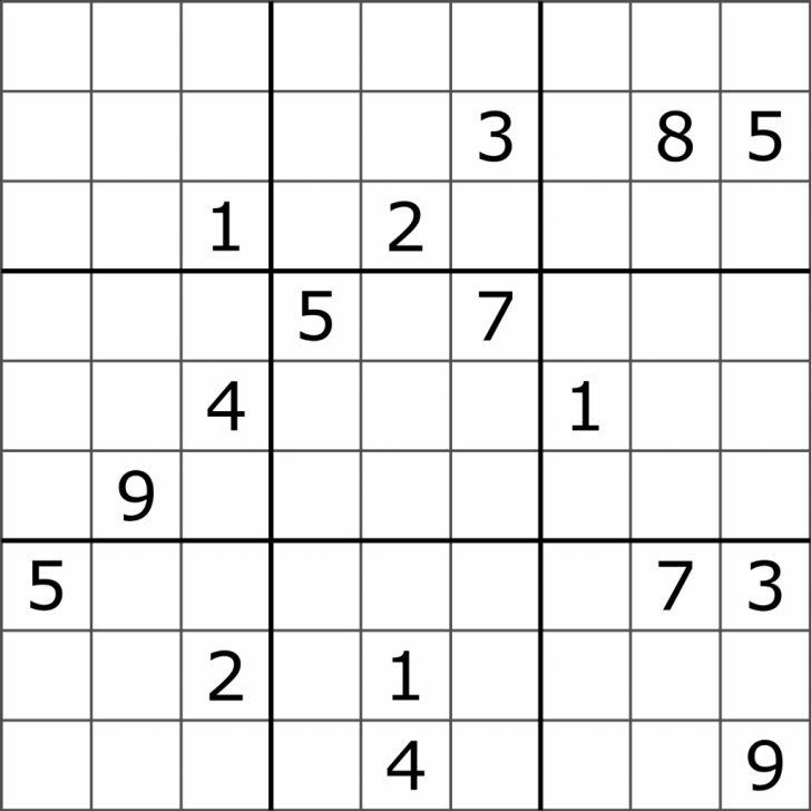 Printable Sudoku Puzzles Free 9X9