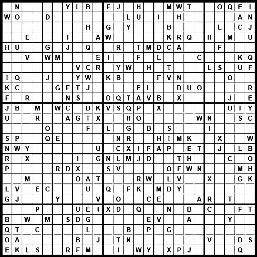 Sudoku: Einstein Level | Printable Alphabet Sudoku