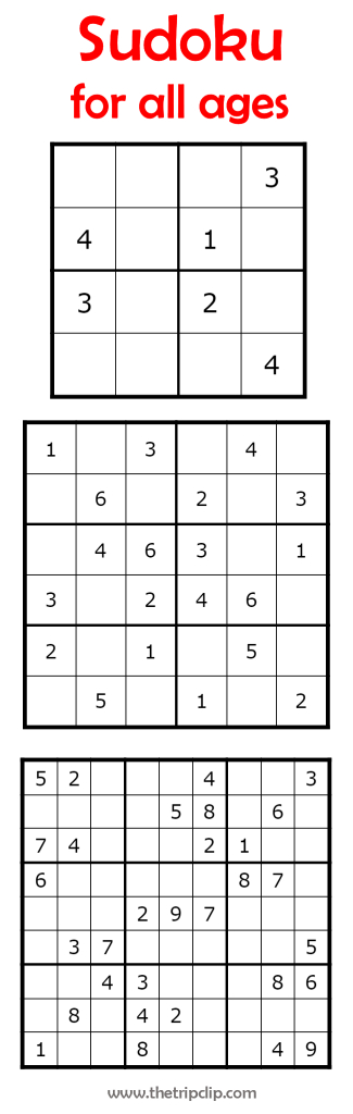 Sudoku For All Ages Plus Lots Of Other Printable Activities For Kids | Printable Sudoku 9X9