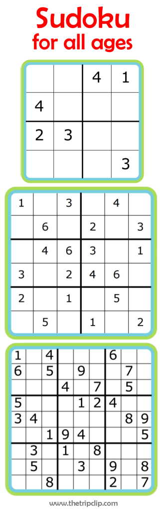 Sudoku For All Ages Plus Lots Of Other Printable Activities For Kids | Printable Sudoku Kids