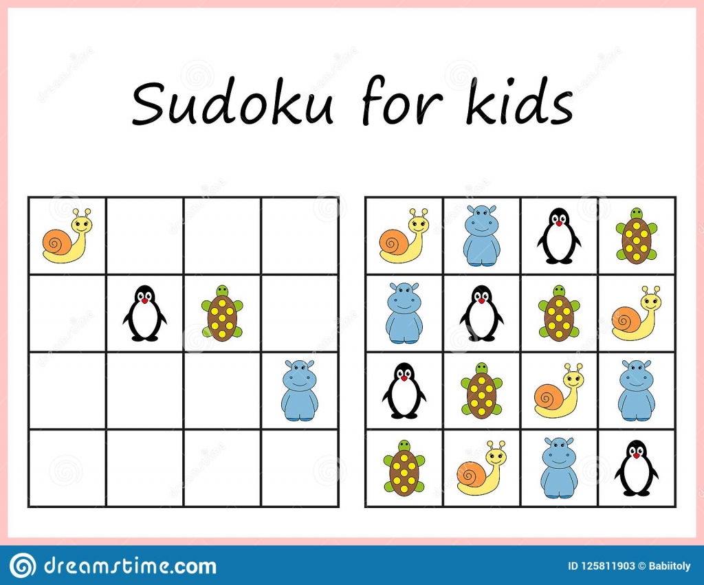Sudoku For Kids. Game For Preschool Kids, Training Logic. Worksheet | Printable Children's Sudoku Free