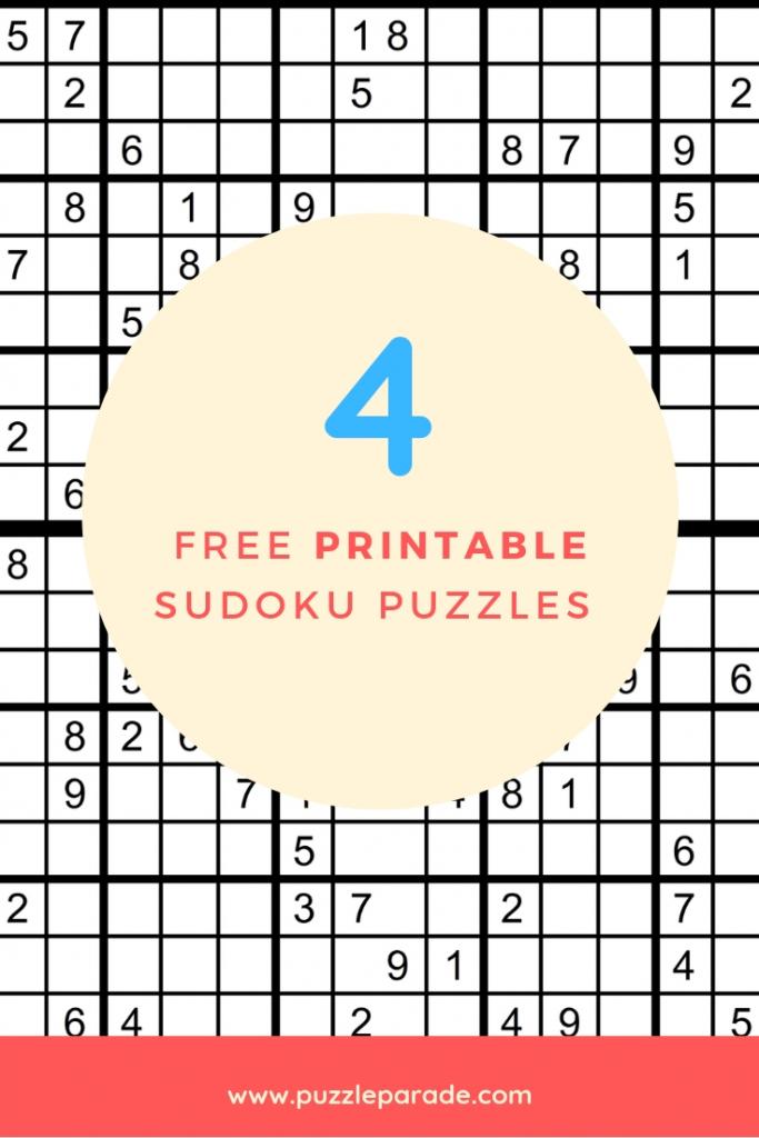 Sudoku Free Printable - 4 Intermediate Sudoku Puzzles - Puzzle Parade | 4 Sudoku Printable