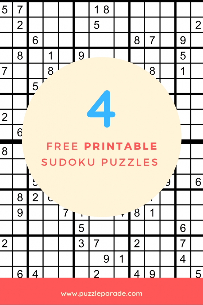 Sudoku Free Printable - 4 Intermediate Sudoku Puzzles - Puzzle Parade | Sudoku Printable 4