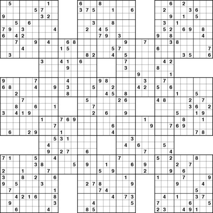 Free Printable Sudoku High-Five Puzzles