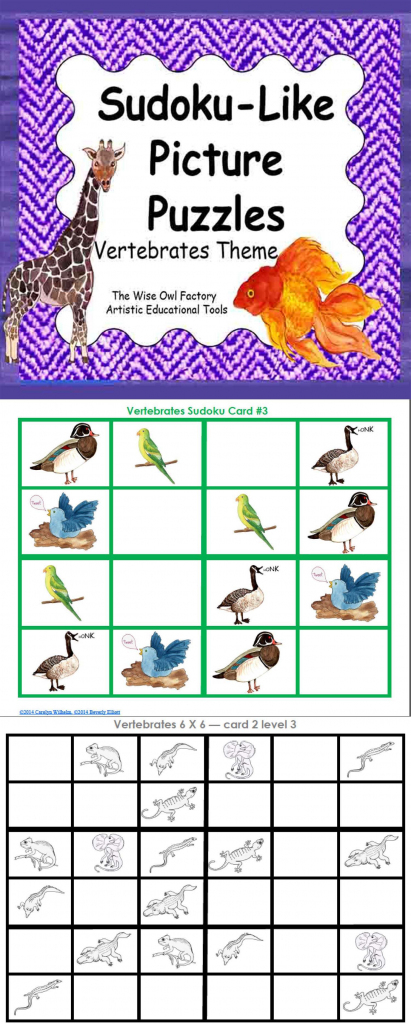 Sudoku-Like Picture Puzzles – Vertebrates Theme 4X4 6X6 8X8 And 9X9 | Printable Sudoku 8X8