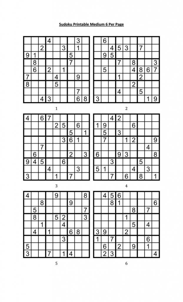Sudoku Printable Medium 6 Per Pageaaron Woodyear - Issuu | 4 Printable Sudoku Per Page