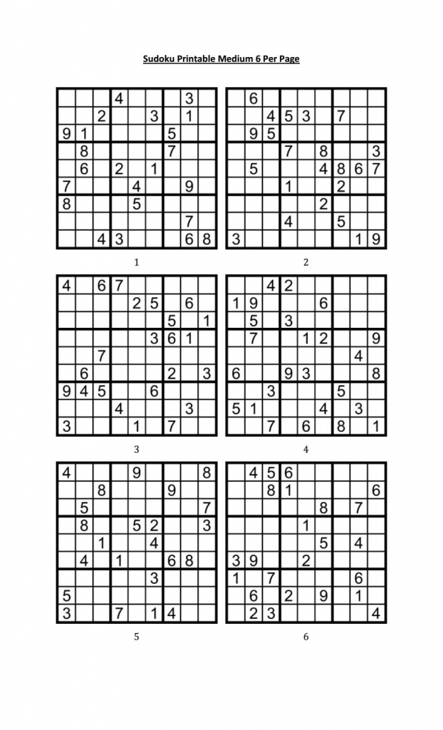 Sudoku Printable Medium 6 Per Pageaaron Woodyear - Issuu | Printable Sudoku 6 To A Page