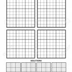 Sudoku Puzzle Blank Template, Four Grids With Solution Grids | Printable Sudoku Blank Grids