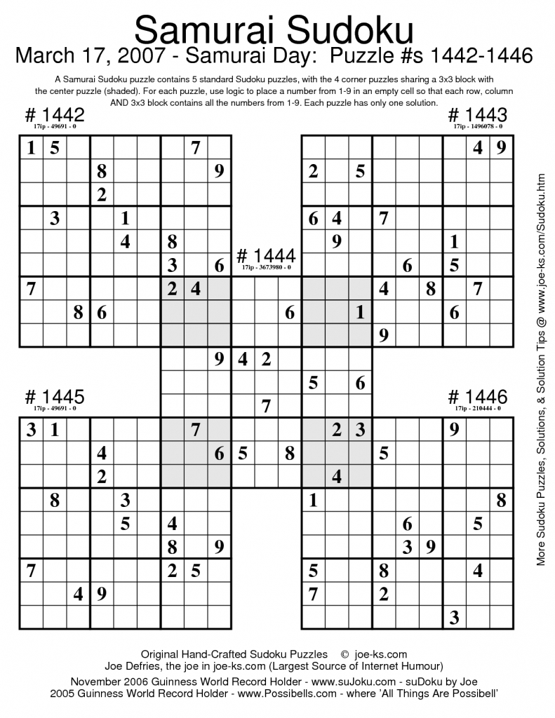 Sudoku Puzzles | Document Sample | Puzzles | Sudoku Puzzles, Puzzle | Printable Samurai Sudoku Medium