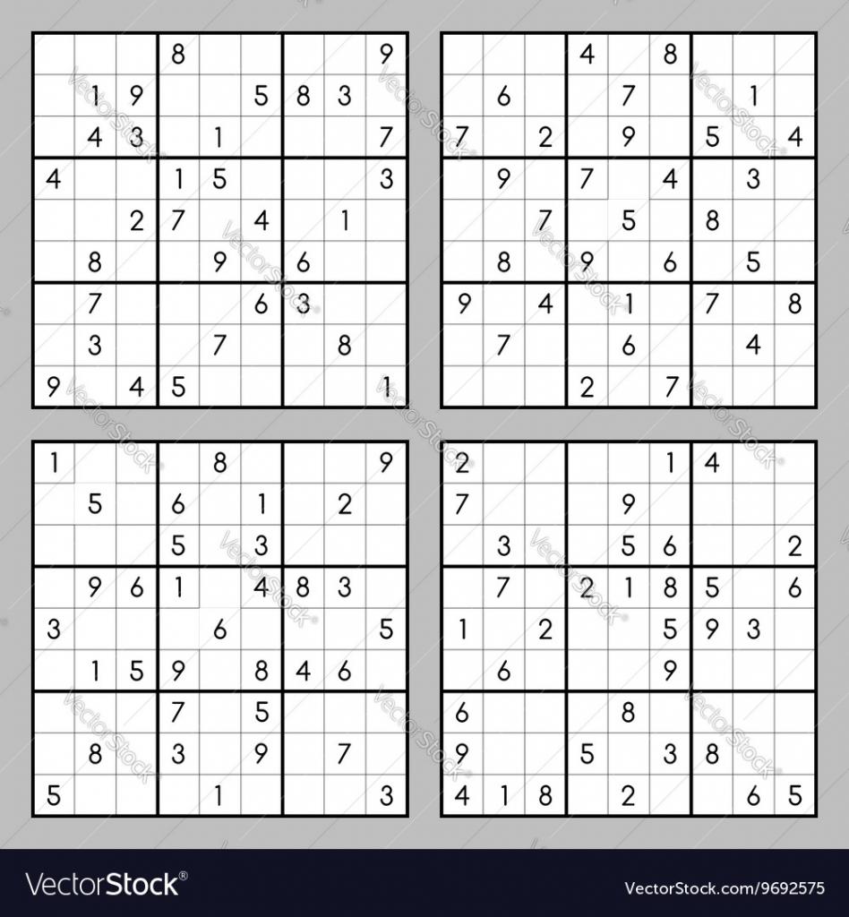 Sudoku Puzzles Royalty Free Vector Image - Vectorstock | Printable Sudoku Multiple Per Page