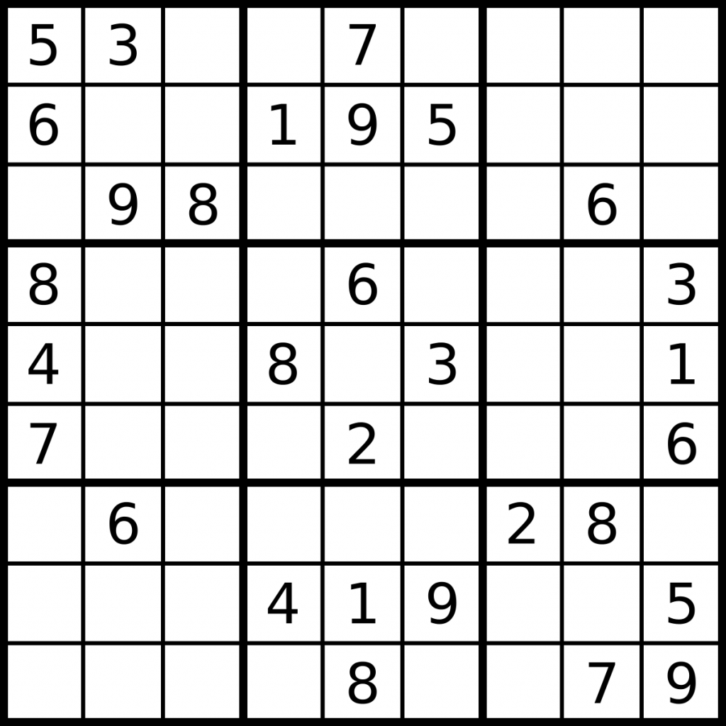 Sudoku - Simple English Wikipedia, The Free Encyclopedia | Free Printable Sudoku 9X9
