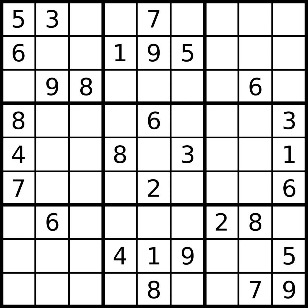Sudoku - Simple English Wikipedia, The Free Encyclopedia | Printable Sudoku Game