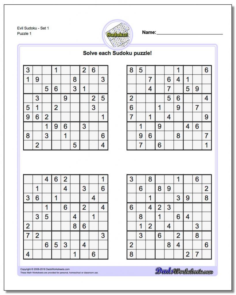 Sudoku Templates - Under.bergdorfbib.co | Sudoku Printable Medium 4 Per Page