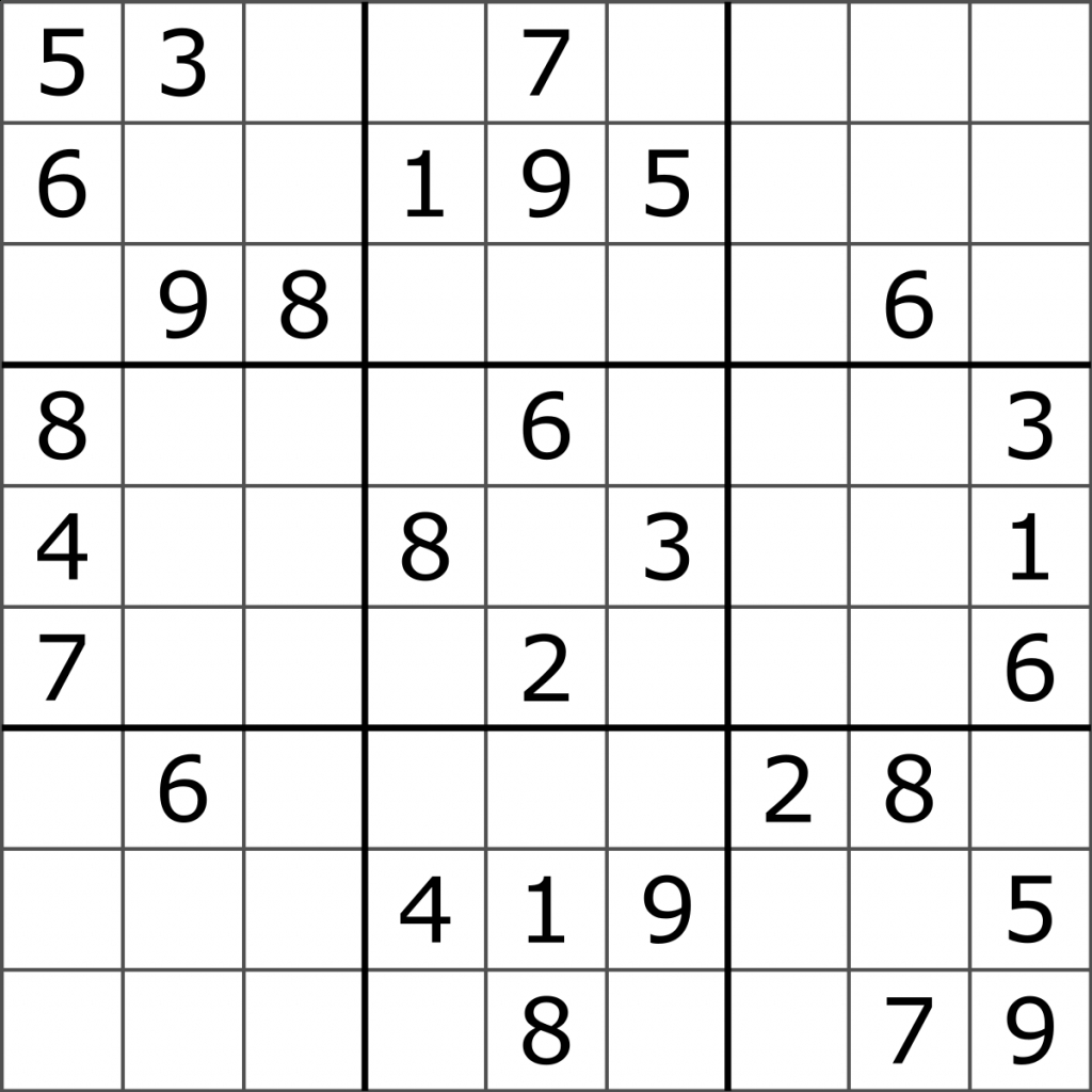 Sudoku - Wikipedia | Printable Sudoku Board