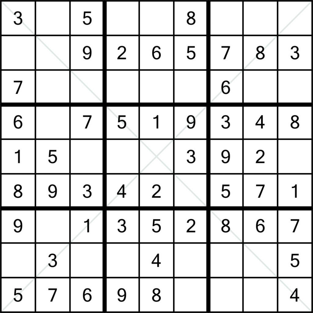 Sudoku X 9X9 (1) | Printable Sudoku 8X8