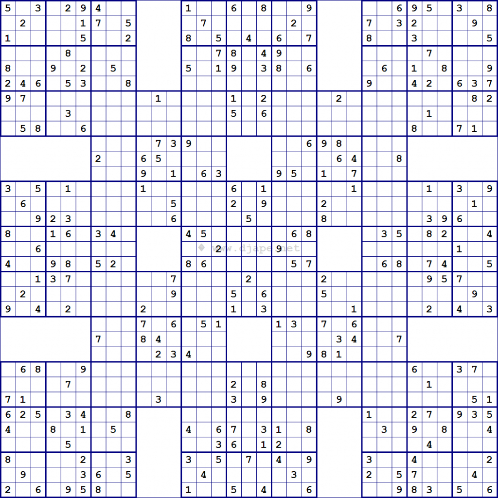 Super Samurai Sudoku 13 Grids | 5 Grid Sudoku Printable