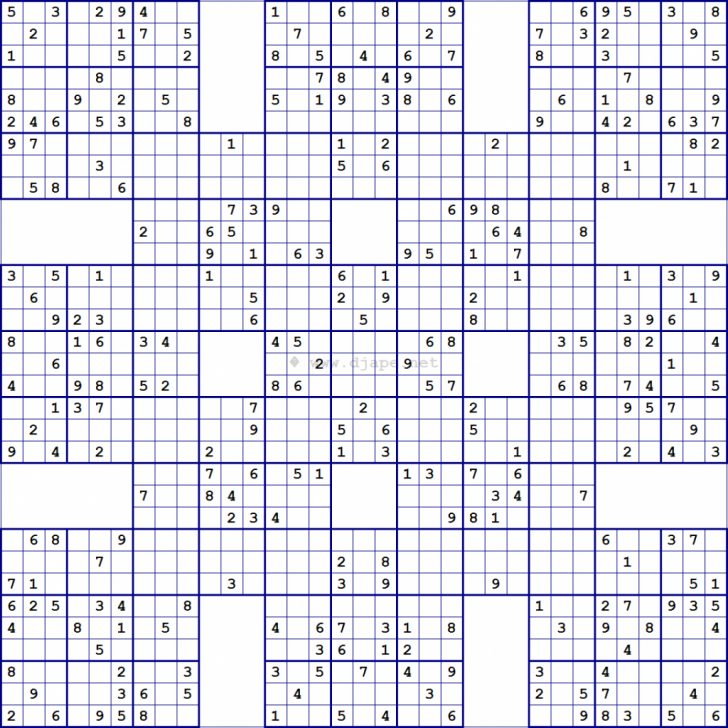 Printable Sudoku Puzzles Samurai