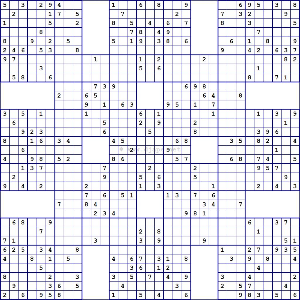 Super Samurai Sudoku 13 Grids | Sudoku | Sudoku Puzzles, Puzzle És | Printable Sudoku 16X16