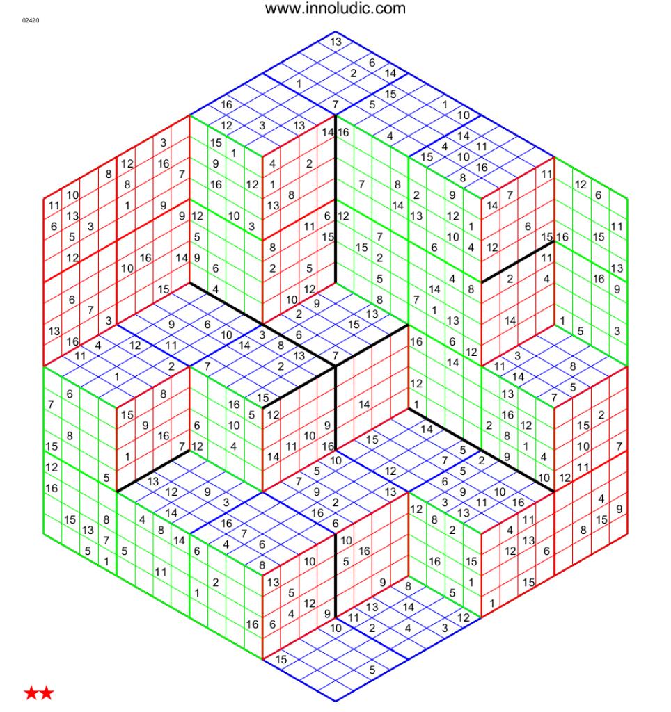 Super Sudoku Three Dimensions | Printable Monster Sudoku 16X16