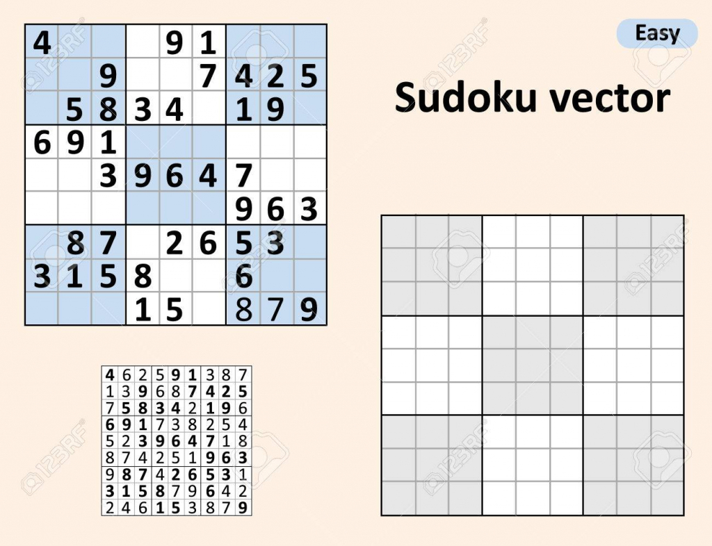 Symmetrical Sudoku With Answers. Vector Set Sudoku. Blank Template | Printable Sudoku 2 Per Page Blank
