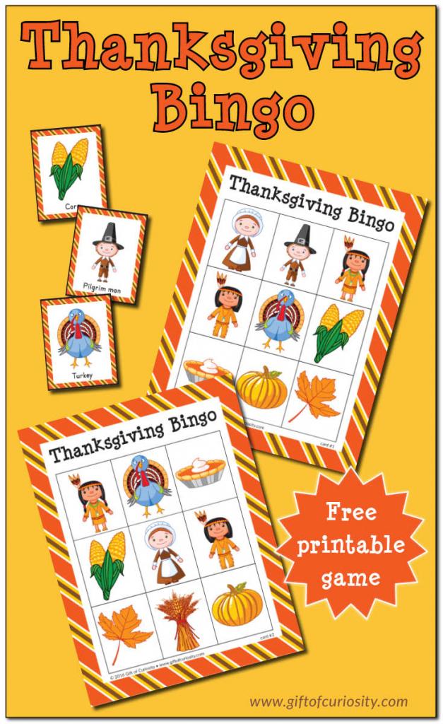Thanksgiving Bingo {Free Printable} - Gift Of Curiosity | Free Printable Thanksgiving Sudoku