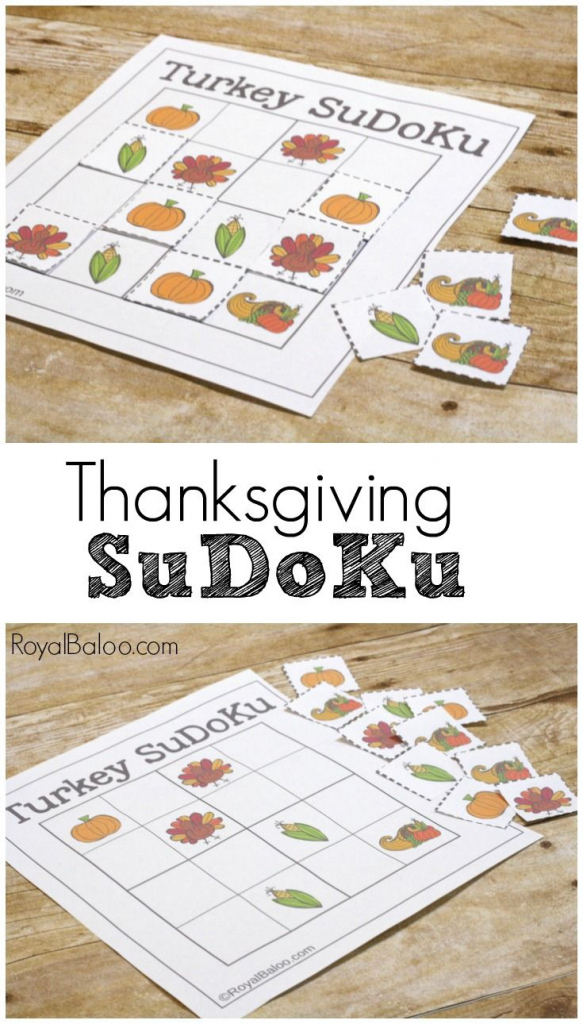 Thanksgiving Sudoku Logic Games For Kids | Fall, Back To School And | Free Printable Thanksgiving Sudoku