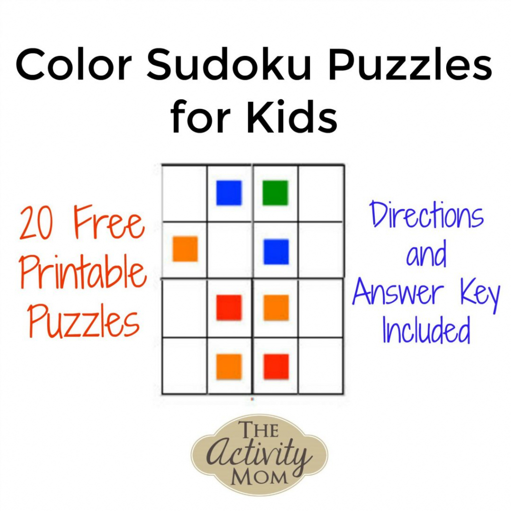 The Activity Mom - Color Sudoku Puzzles For Kids - The Activity Mom | Printable Sudoku For 5 Year Olds
