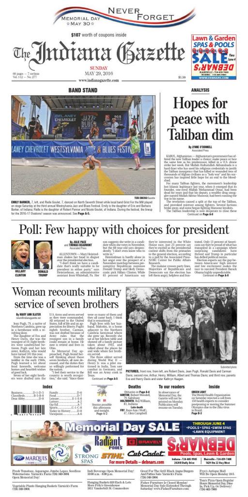 The Indiana Gazette, May 29, 2016Indiana Printing & Publishing | Printable Sudoku In The Cedar Rapids Gazette