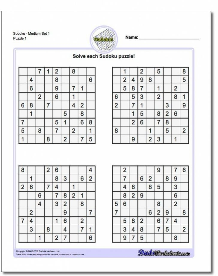 Printable Sudoku 99 Answers