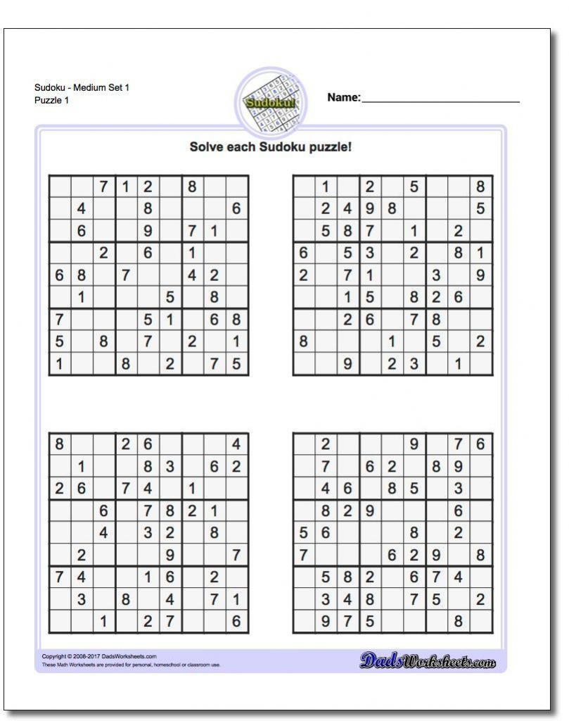These Printable Sudoku Puzzles Range From Easy To Hard, Including   Printable Sudoku Dad