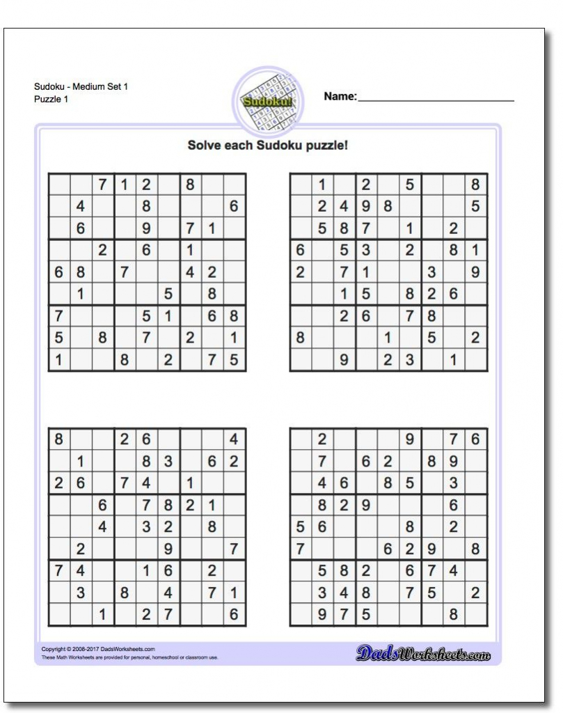 These Printable Sudoku Puzzles Range From Easy To Hard, Including | Printable Sudoku Medium-Hard
