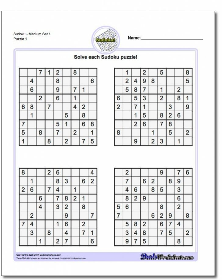 Printable Sudoku Puzzles Free Online