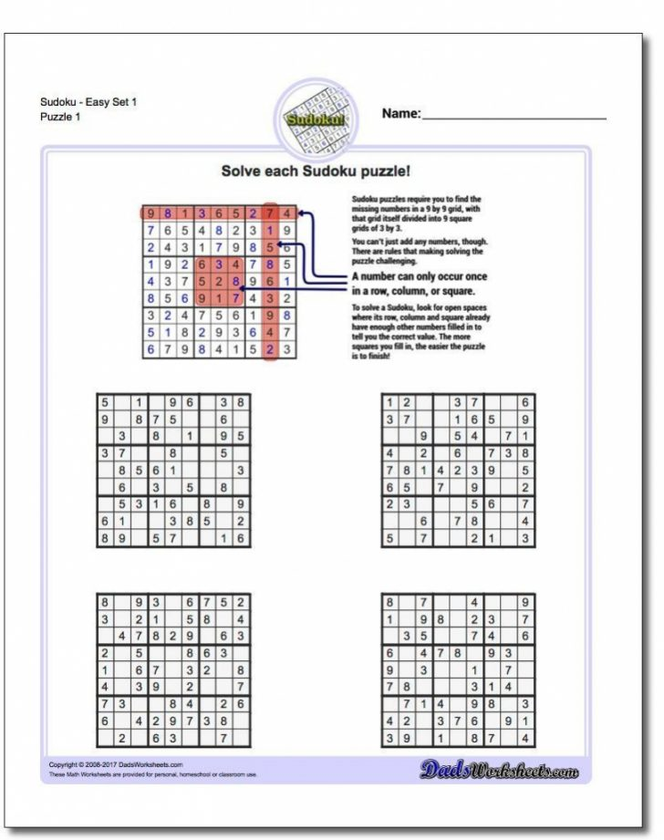 Printable Sudoku Worksheets 2Nd Grade
